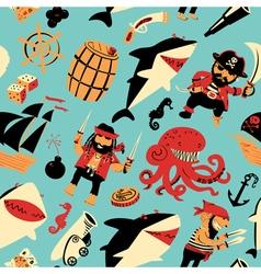 nautical pattern witpirates and sharks nautical vector image