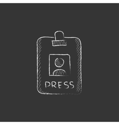 Press pass ID card Drawn in chalk icon vector image vector image