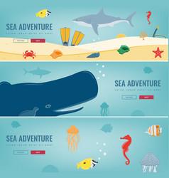 Sea icons and symbols set sea animals nautical vector