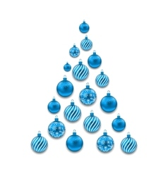 Christmas Abstract Tree made in Blue Glass Balls vector image