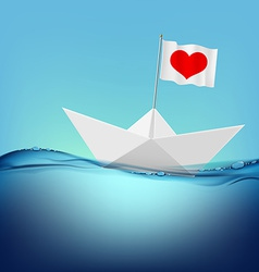Flag with a red heart on a paper boat vector image