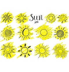 Hand drawn set of different suns sketch isolated vector image