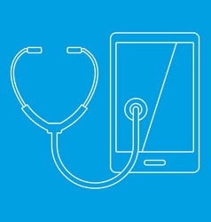 Phone diagnosis icon outline style vector