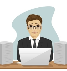 sad businessman surrounded with paper documents vector image