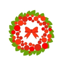Stock christmas wreath with red ball and vector image