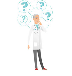 Thinking caucasian doctor with question marks vector