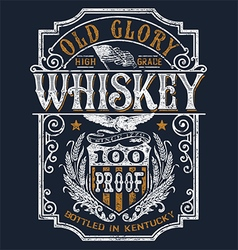 Vintage Americana Whiskey Label T-shirt Graphic vector image