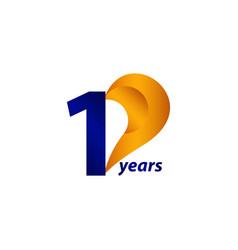 10 years anniversary celebration gold blue unique vector