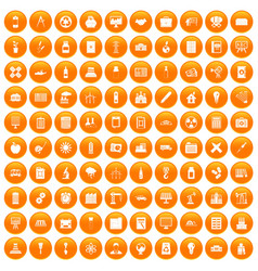 100 company icons set orange vector