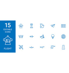 15 flight icons vector