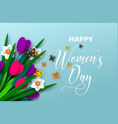 8 march greeting card for international womens day vector image