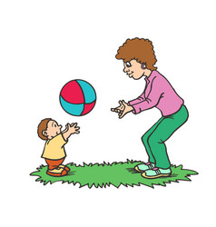 A mother playing with ball her son happy mothers vector