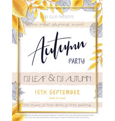 Autumn party poster template with hand vector