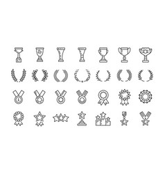 Awards line art icons set winner vector