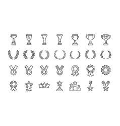 awards line art icons set winner vector image