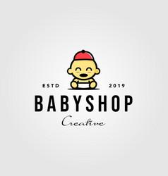 Baby shop toddler babies hat logo hipster vintage vector