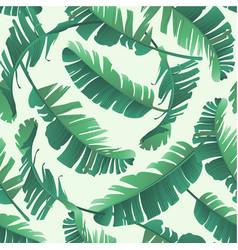 banana palm leaves seamless tropic pattern vector image