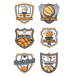 Basketball game badges and sport icons vector