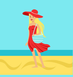 Beatuful woman in a red dress and beach hat vector