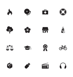 black simple flat icon set 6 vector image