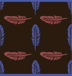 blue red feathers seamless pattern vector image