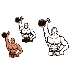 Bodybuilder man with dumbbell vector