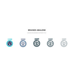 Braised abalone icon in different style two vector