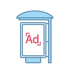 Bus stop advertisement color icon vector