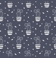 Cactus plant in a pot blue seamless pattern vector