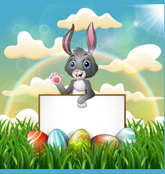 cartoon bunny holding blank sign on the field vector image