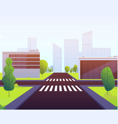 cartoon crosswalks highway traffic empty street vector image
