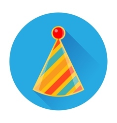 Celebratory striped clown cap icon vector