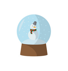 christmas sphere with snowman flat on white vector image