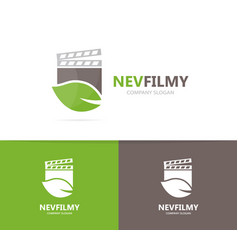 Clapperboard and leaf logo combination vector