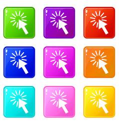 Click icons 9 set vector