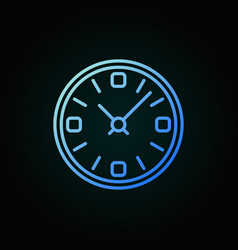 clock blue line icon time concept linear vector image