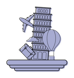 Color leaning tower of pisa with air balloon vector