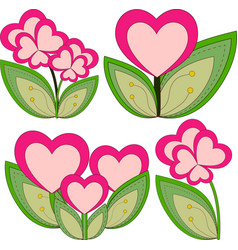 colorful heart flower plant collection set vector image