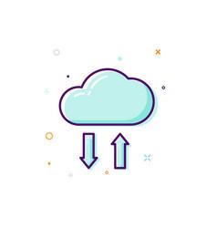 Concept cloud icon thin line flat design data vector