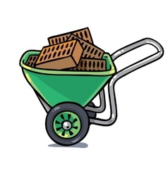 Construction workers cart with bricks vector