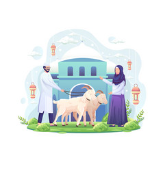 Couple celebrates eid al adha donating two vector