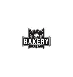 cupcake chef hat wheat bakery logo vector image