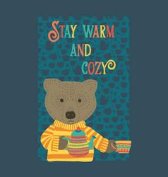 Cute cozy bear tea party time vector