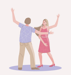 Dancing couple man and woman vector