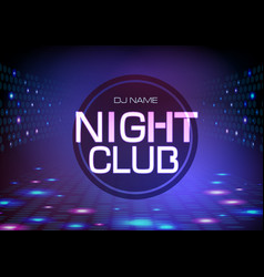 Disco abstract background neon sign night club vector