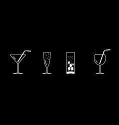 drinks cocktail set line white icon set black vector image