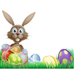 easter bunny and eggs basket vector image