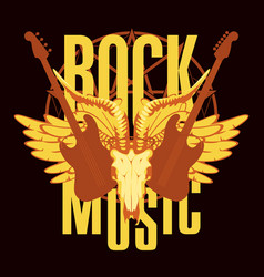 emblem with electric guitar wings and goat skull vector image