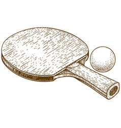 Engraving of ping pong table tennis racket and vector