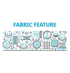 Fabric feature banner outline style vector